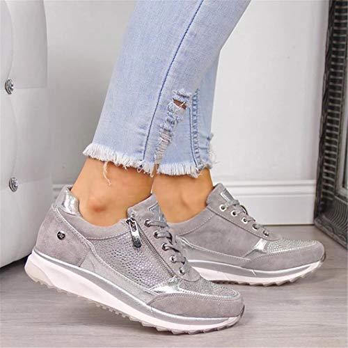 Oceansee Damen Freizeitschuhe Mode Keilabsatz Flache Schuhe Reißverschluss Schnüren Bequeme Damen Sneakers Weibliche Vulkanisierte Schuhe Silber 38