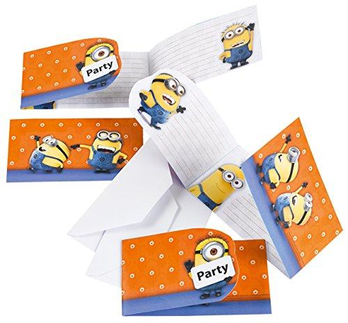 Minions Einladungskarten mit Umschlag, 6 Stück