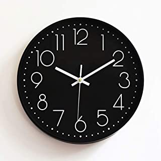 Preciser Modern Wall Clock Silent Non Ticking Digital Wall Watch 12 Inch Excellent Accurate Sweep Movement Decorative Clocks for Living Room, Bedroom, Bathroom, Bedroom, Office