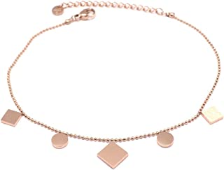 Les Trésors De Lily Q0911 - Catena cavigliera acciaio 'Chorégraphie' rosa dorato (oro rosa)- lozange 10x10 mm.