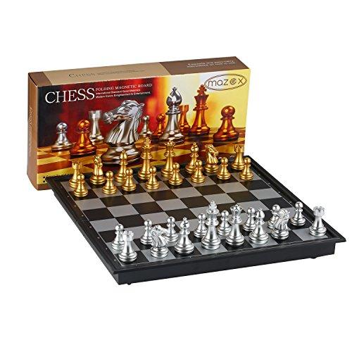 MAZEX Faltendes magnetisches Reise Schach Set Kinder oder Erwachsene Schach Brettspiel (9.8X9.8X0.8 Inch, Gold&Silver Chess Pieces)