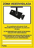 Señal videovigilancia - seribas - zona videovigilada – cartel cámara - PVC glaspack 0,7mm - A4 amarillo