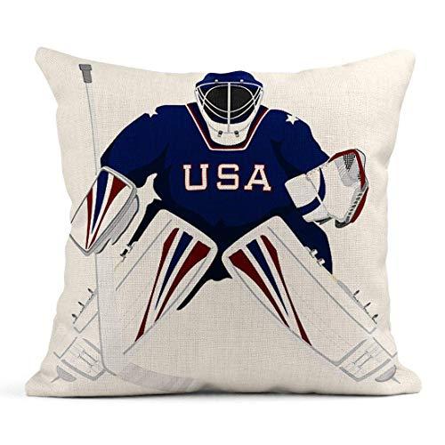 Dekokissen Ice Team USA Hockey Torwart Trikot Sport Schläger Winterhelm Leinen Kissen Home Dekorative Kissen