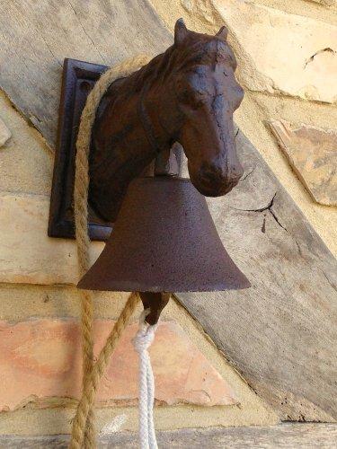 Antikas - Campana con Cabeza de Caballo - Campana de Puerta rústica - Campana jardín Estilo Antiguo