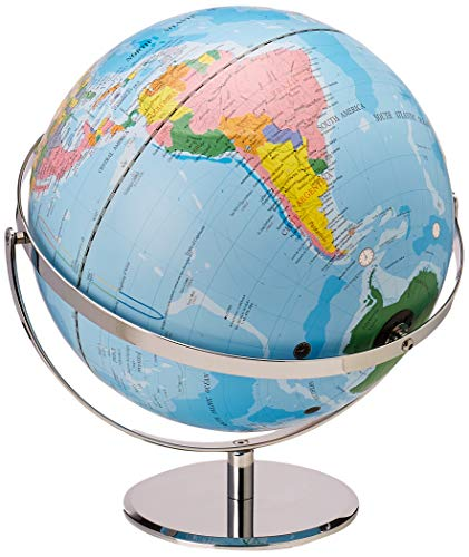 """12"""" World Globe with Blue Oceans, Raised Relief, Silver, Semi-Meridian"""