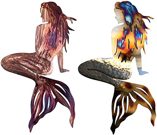 JDTBYMXX 2 unids Mermaid Metal Wall Art Decor, Art Garden Wall Art Ornament, Playa Dos Mermaid Decorations Theme, Sculptura de Pared Al Aire Libre, Regalos para Mamá