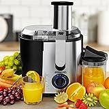 Monzana® Entsafter für Obst und Gemüse aus Edelstahl Motorleistung max. 1100W große 85 mm Einfüllöffnung inkl. Reinigungsbürste und Saftbehälter 3 Geschwindigkeitsstufen