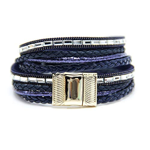 Tea language 2019 Multilayer wrap Bracelet for Women with Clear Glass Stones Paving Magnetic Clasp Bracelet