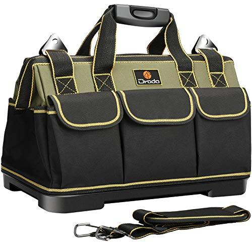 Drado ツールバッグ 工具バッグ 工具袋 道具袋 ベルト付 工具差し入れ 大口収納 1680Dオックスフォード 特化プラスチック底部 防水 40�p×23�p×28�p