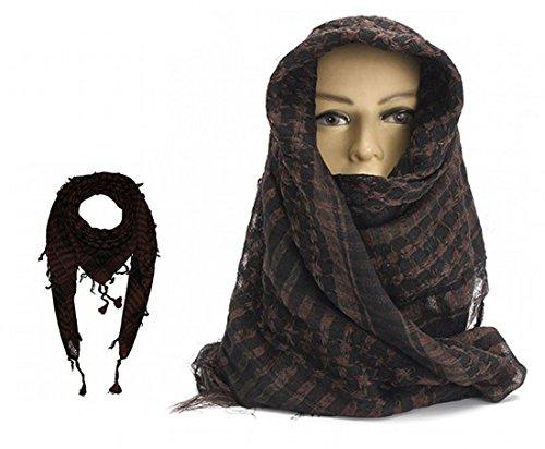 ARUNDEL DIENSTEN EU Koffie Bruin Arabische Shemagh KeffIyeh Katoen Sjaal Arabische Sjaal Woestijn Hoofd Sjaal Camping Sjaal Hoofd Sjaal Gezicht Mesh Woestijn Wrap Bandanen