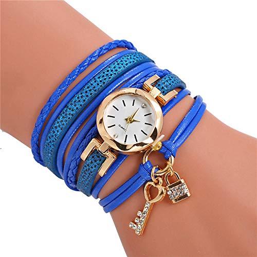 SANDA Relojes Mujer,Reloj de Pulsera de Cuero Trenzado con Llave explosiva Reloj de Cuarzo con Cuerda de Viento étnico-Azul