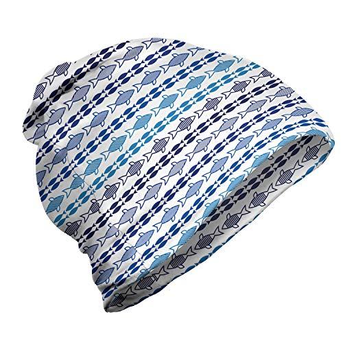 ABAKUHAUS marinier Unisex Muts, Fish Silhouettes Blauwe Tonen, voor Buiten Wandelen, Indigo Sea Blue White