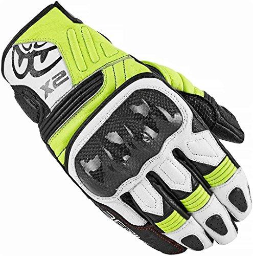 Berik NexG - Guantes cortos de piel para motocicleta (negro/blanco/amarillo, XXL)