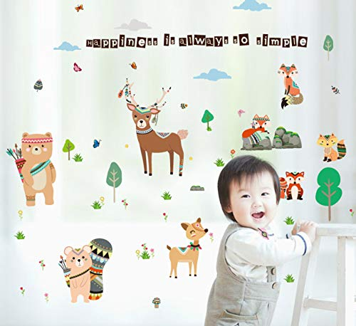 miaoqiushiyi Cartoon Friendly Animal Stickers Muraux pour Chambre d'enfants Ours Deer Fox Forêt Animaux Home Decor pour Enfants Heureux Sticker157 * 110 Cm