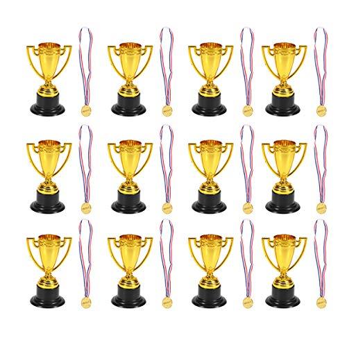 NUOBESTY 24Pcs Gold Award Trophäen Medaillen Trophäen Statuen Anerkennung für Wettbewerbe Auszeichnungen Party Begünstigt Requisiten Sport Belohnungen Geschenkschule