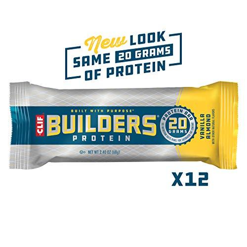 CLIF BUILDERS - Protein Bars - Vanilla Almond Flavor - (2.4 Ounce Non-GMO Bars, 12 Count)