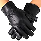 Mens Leather Smartphone Dress Gloves for Touch Screen iPhone Android Tablet, Large, Black