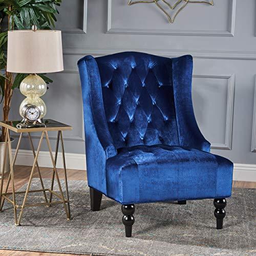 Christopher Knight Home Toddman High-Back Velvet Club Chair, Navy Blue