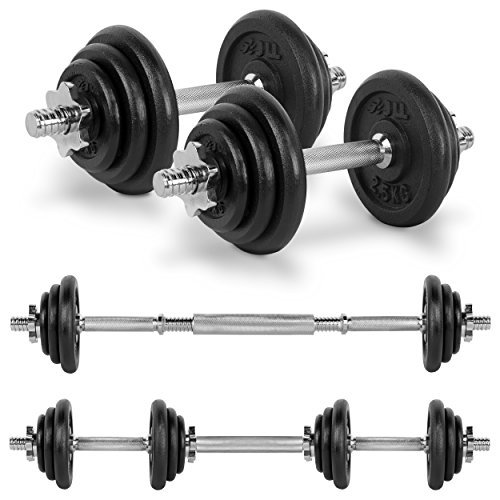 JLL 20kg Cast Iron Dumbbell & Barbell Set 2020, 4x 0.5kg, 4x 1.25kg and 4x 2.5kg weight plates, 4x spin-lock collars, steel connecting bar, hammer tone look, resilient and long lasting training equipment