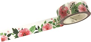 Wrapables Flowers and Greens Masking Tape, 15mm x 7m Pink Camellias Washi