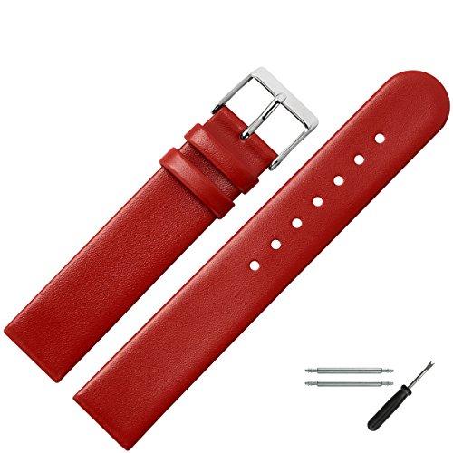 MARBURGER Uhrenarmband 16mm Leder Rot - Werkzeug Montage Set 7611640000120