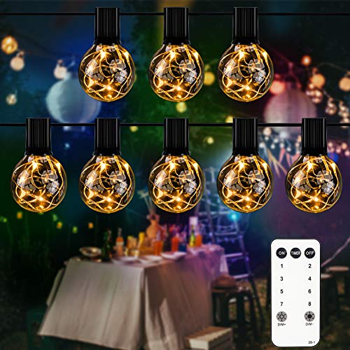 slashome LED Outdoor String Lights, 30+3pcs(Spare) G40 Bulbs Dimmable LED String Lights,Waterproof Patio String Lights with Remote Control, for Patio Wedding Backyard Garden Bistro Cafe Yard