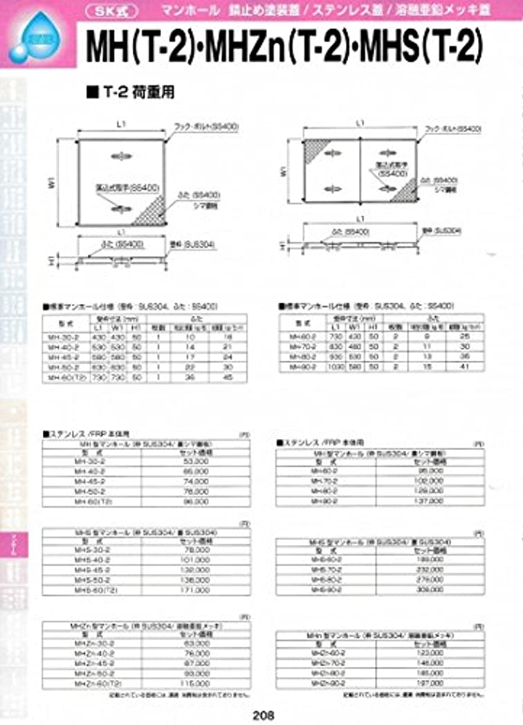 ラショナル誤解させる報復するMHS型マンホール(枠SUS304 / 蓋SUS304)MHS(T-2) MHS-205-2