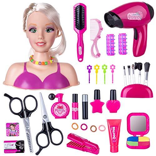 HYMAN Schmink Frisierköpfe Spielzeug, 33 STK Kinder Rollenspiele Puppe Styling Kopf Spielzeug mit Fön