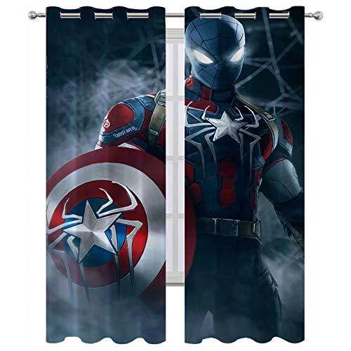 Par de cortinas largas con ojales en la parte superior, diseño de hombre araña como superhéroe, 160 x 160 cm