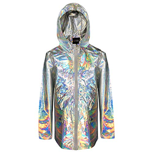 Kids Girls Holographic Iridescent Shiny Silver Raincoat Hooded Jacket Rain Mac