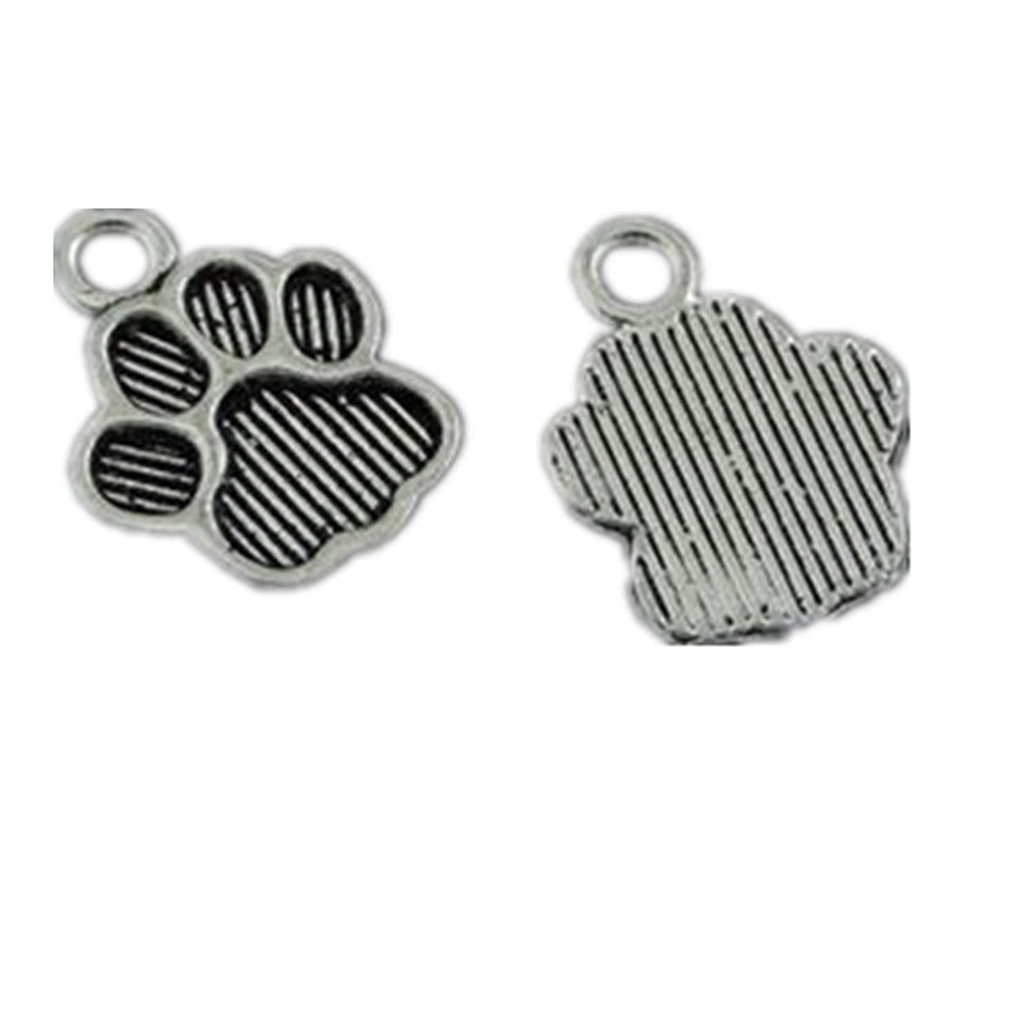 Julie Wang 100PCS Antiqued Silver Cat Paw Foot Prints Charms Pendants for Jewelry Making DIY 15x11MM