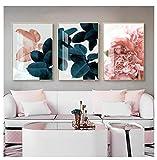 DLFALG Raíz de loto contratada Flores rosas Pinturas en lienzo Carteles e impresiones Imagen de arte de pared para la decoración del hogar de la sala de estar - 40x60cm x3 sin marco