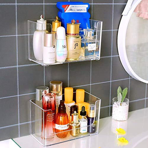 Sooyee 2-Pack Shower Caddies,No Drilling Wall Mounted Bathroom Corner Shelf Organizer with Hooks Suction Kitchen Storage,Stackable Makeup Organizer Stand on Countertop,Clear