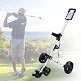 4 Wheel Golf Push Pull Cart, Foldable Lightweight Caddy Golf Push Cart Collapsible Golf Pull Trolley with Scorecard Holder