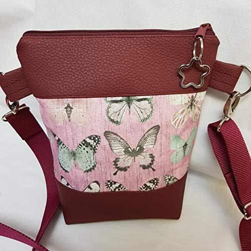 Kleine Handtasche Schmetterling weinrot Umhängetasche Tasche mit Anhänger Kunstleder