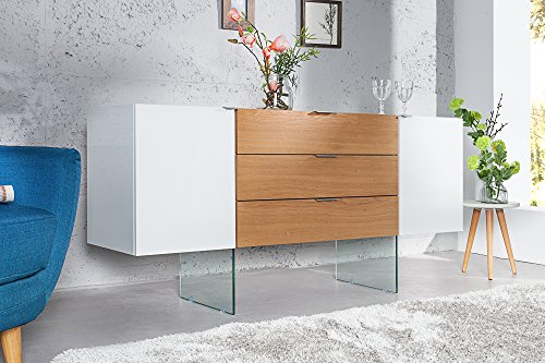 DuNord Design dressoir wit hoogglans 160 cm commode modern eiken glas Malmö in Scandinavisch design dressoir kast