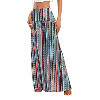 Zando Long Skirts for Women High Waisted Maxi Skirt Casual Trendy Dresses Fold-Over Workout Stretchy Flared Flower Skirt for Girls Geometric Stripe Medium