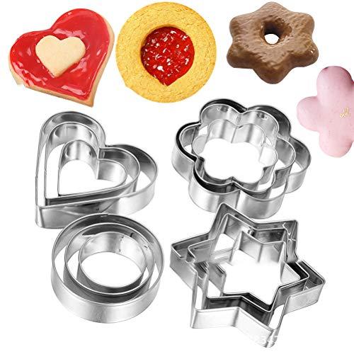 Dan&Dre 12 cortadores de galletas de acero inoxidable para fondant y galletas, de varias formas, para hornear