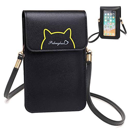 EQLEF Cross-body Shoulder Bag, bolsa de teléfono celular de cuero linda de la PU con pantalla táctil transparente ventana Crossbody monedero para las llaves del teléfono dinero tarjetas
