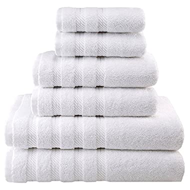 Premium, Luxury Hotel & Spa Quality, 6 Piece Kitchen and Bathroom Turkish Towel Set, 100% Genuine Cotton for Maximum Softness and Absorbency by American Soft Linen, [Worth $72.95] (White)