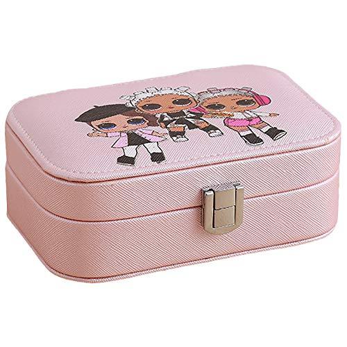 Caja De Joyería Rosa Organizador, Caja De Almacenamiento De Joyas De Cuero PU De PU Pequeñas, Pendientes De Anillo Organizador De Caja De Joyería para Niñas Mujeres Pink