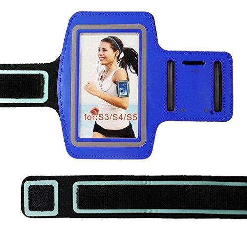 Nuevo 9 colores Premium Running Sports GYM Brazalete caso cubierta para Samsung S3/S4/S5/S6/S7 Edge Plus (S5, azul oscuro)