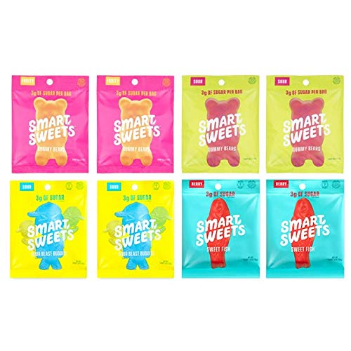 SmartSweets Variety Pack 1.8 oz Bags (Box of 8) Low Sugar Gummy Candy with Stevia - SweetFish (2), Sour Blast Buddies (2), Fruity Gummy Bears (2), Sour Gummy Bears (2)