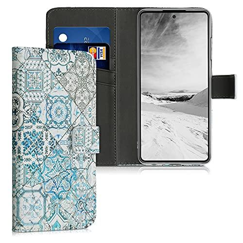 kwmobile Carcasa Compatible con Samsung Galaxy A52 - Funda de Cuero sintético Azulejos Cuadrados - con Tarjetero