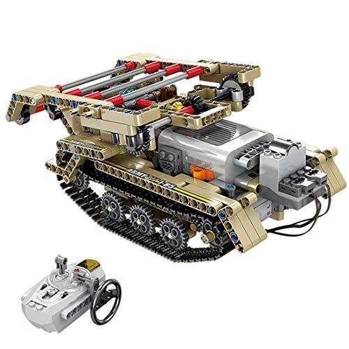 GRTVF Kit de modelo de tanque militar de bloque de construcción RC, Modelo de control remoto Modelo de tanques de construcción Tanque de batalla de puente, regalo de juguete de cumpleaños para niños d