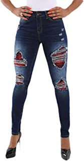 Howely Womens Washed Distressed Mid Waist Casual Fitted Jeans with Pockets Dark Blue XL