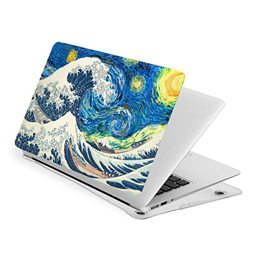 The Great Wave Off Kanagawa Starry Night MacBook Pro 13 Inch Case Slim Fits with A2159 A1989 A1706 A1708 Hard Shell Protective Cover Compatible with Apple Mac Pro 13