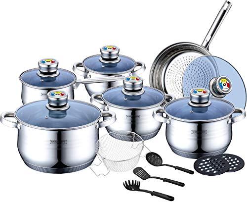 Royalty Line - Set de cocina suizo, 18 piezas, cacerola de inducción, acero inoxidable con cuenco