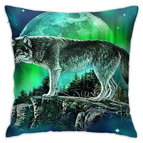 Wearibear Funda de cojín cuadrada de algodón ultra suave con diseño de lobo y luna del norte, funda de almohada para cama, oficina, sofá, 45 x 45 cm