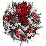 The Cordless Prelit Red and White Holiday Trim,Christmas Wreaths Decoration for Front Door,Artificial Christmas Wreath,Wall Hanging Christmas Snowball Red Berry Pine Cone Garland,Xmas Home Decor (A)